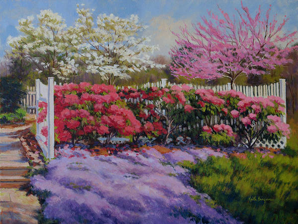 Impressionism Poster featuring the painting Dotti's Garden Spring by Keith Burgess