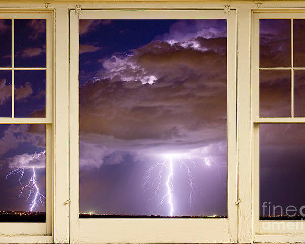 Windows Poster featuring the photograph Double Lightning Strike Picture Window by James BO Insogna