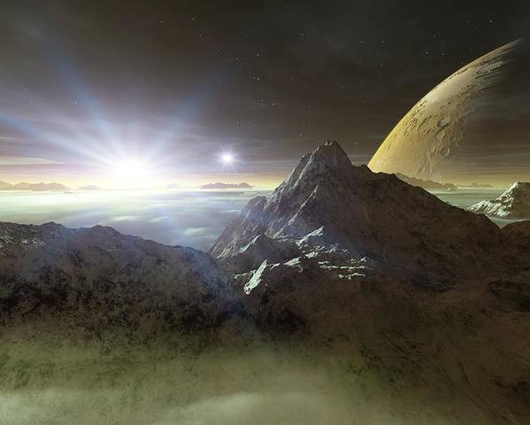Planet Poster featuring the photograph Double Star Sunset On An Alien Planet by Detlev Van Ravenswaay