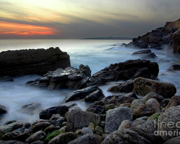 Abstract Poster featuring the photograph Dramatic Coastline by Carlos Caetano