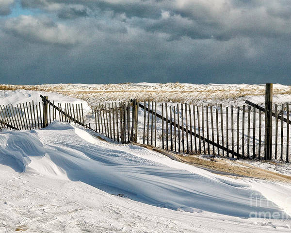 Winter Poster featuring the photograph Drifting Snow Along The Beach Fences At Nauset Beach In Orleans by Matt Suess