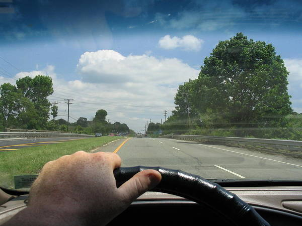 Driving Poster featuring the painting Drivers Window by Rick Praskac