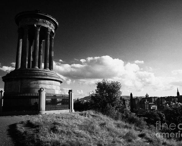 Calton Poster featuring the photograph Dugald Stewart Monument Calton Hill With View Of Edinburgh Skyline Scotland Uk United Kingdom by Joe Fox