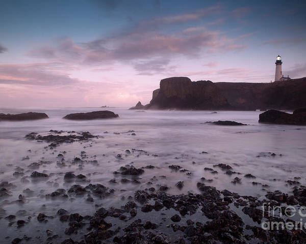 Light House Poster featuring the photograph Dusk At Yaquina Head Lighthouse by Keith Kapple