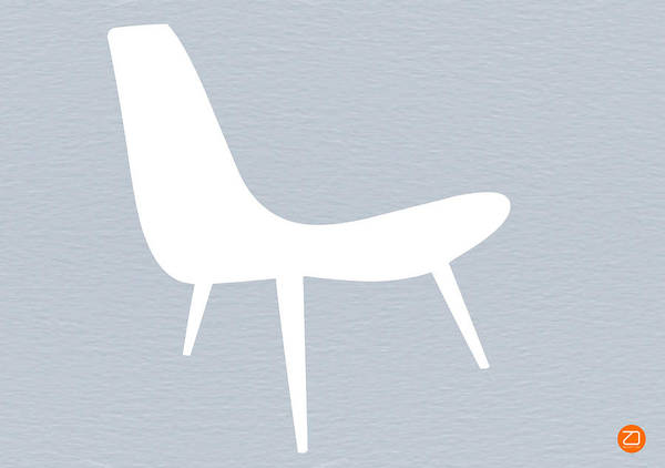 Poster featuring the digital art Eames White Chair by Naxart Studio