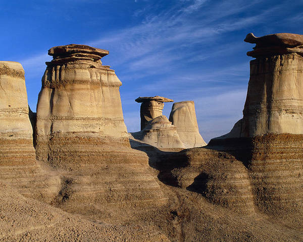 Earth Pillar Poster featuring the photograph Earth Pillars (hoodoos) In Alberta Badlands Canada by David Nunuk