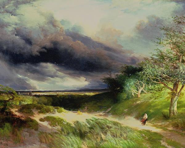 East Hampton Poster featuring the painting East Hamptonlong Island Sand Dunes by Thomas Moran
