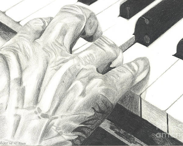 Hand Poster featuring the drawing Ebony And Ivory by Martha Booysen