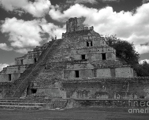 Mexico Poster featuring the photograph Edzna Pyramid Climber Campeche Mexico by John Mitchell