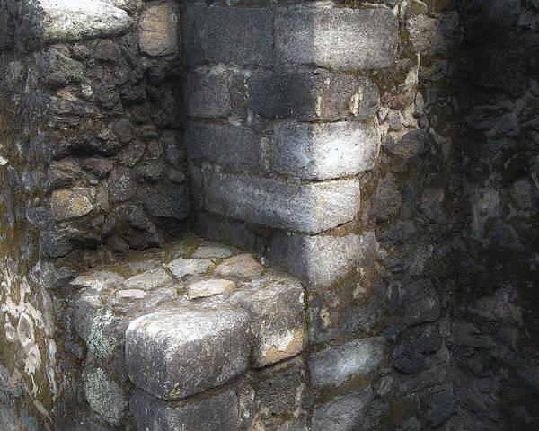 Azteca; El Cuauhcalli Poster featuring the photograph El Cuauhcalli Stonework by John Bartosik