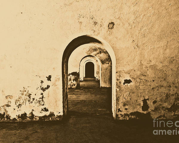 Travelpixpro Puerto Rico Poster featuring the photograph El Morro Fort Barracks Arched Doorways San Juan Puerto Rico Prints Rustic by Shawn O'Brien