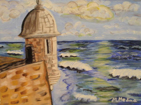 Landscape Poster featuring the painting El Morro by Maria Medina