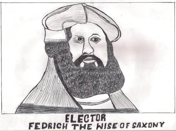 Duck Poster featuring the drawing Elector Fedrich The Wise Of Saxony by Ademola kareem oshodi