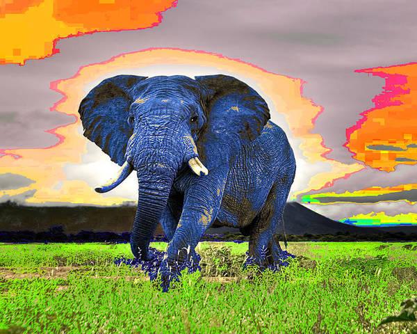 Digital Poster featuring the digital art Elephantidae Diurnal by Jimi Bush