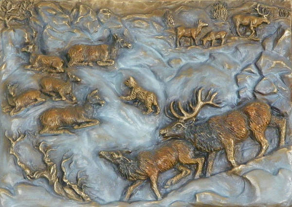 Wildlife Poster featuring the sculpture Elk And Bobcat In Winter by Dawn Senior-Trask