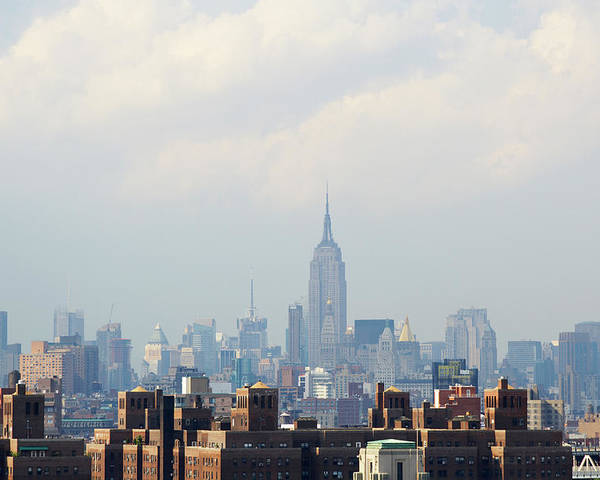 Horizontal Poster featuring the photograph Empire State Building Seen From Lower Manhattan by Ryan McVay