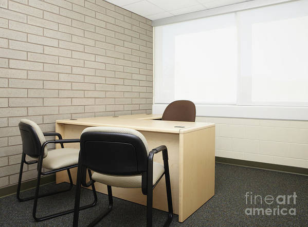 Abandoned Poster featuring the photograph Empty Desk In An Office by Skip Nall