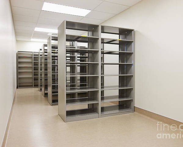 Architecture Poster featuring the photograph Empty Metal Shelves by Jetta Productions, Inc