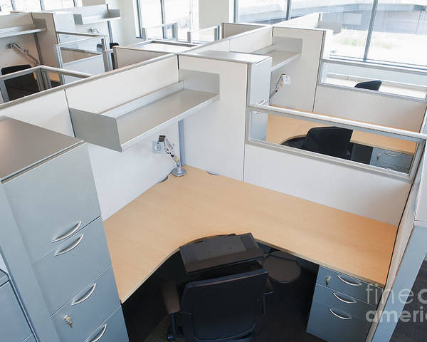 Architecture Poster featuring the photograph Empty Office Cubicles by Jetta Productions, Inc