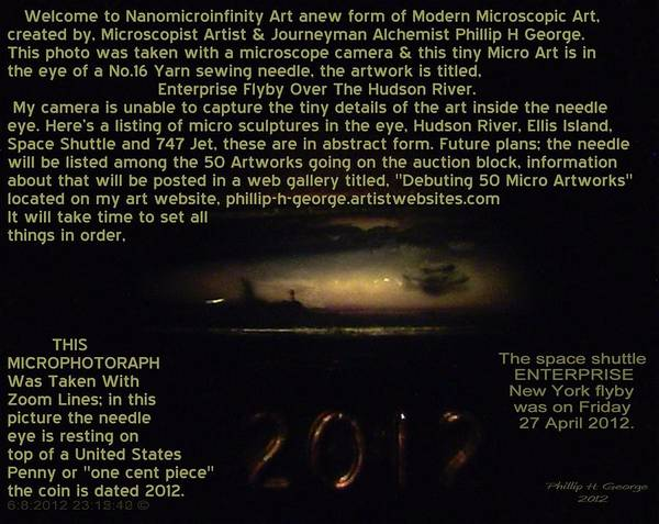 Nanomicroinfinity Art Poster featuring the painting Enterprise Flyby Over Hudson River Info Photo No.3 by Phillip H George