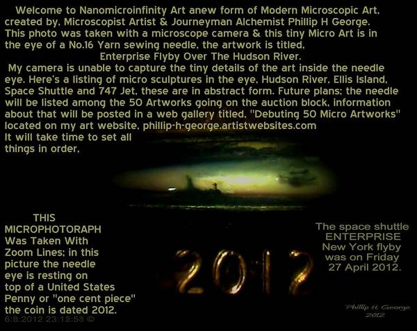 Nanomicroinfinity Art Poster featuring the painting Enterprise Flyby Over The Hudson River Info Photo No.4 by Phillip H George