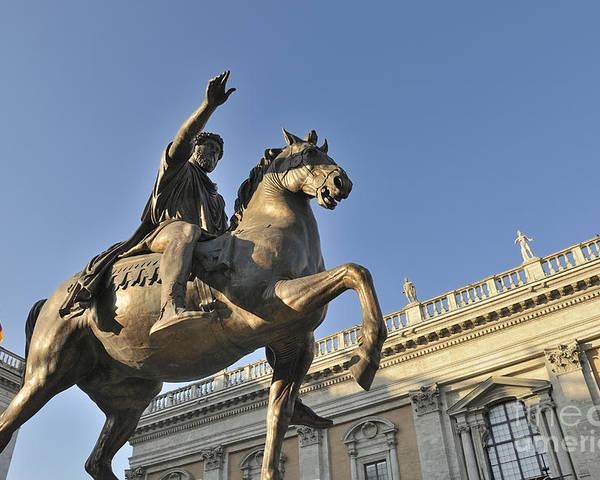 Architecture And Art Poster featuring the photograph Equestrain Statue Of Emperor Marcus Aurelius In Piazza Del Campidoglio.capitoline Hill. Rome. Italy. by Bernard Jaubert