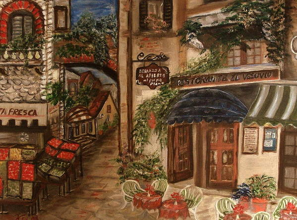 Landscape Poster featuring the painting European Village by Kenneth LePoidevin
