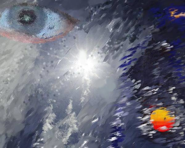 Abstract Poster featuring the digital art Eye In The Sky by Mark Stidham