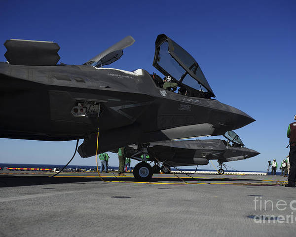 Aerospace Poster featuring the photograph F-35b Lightning II Variants Are Secured by Stocktrek Images