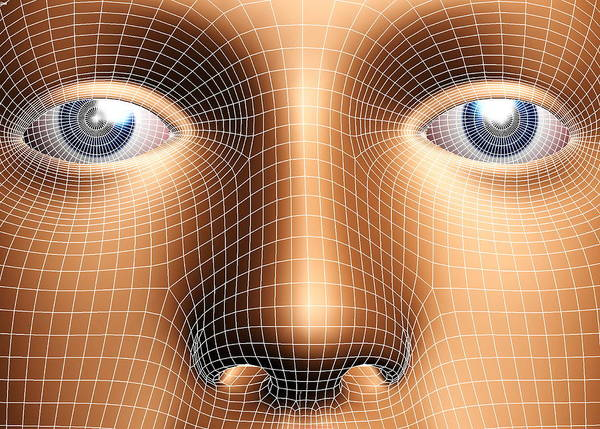 Face Poster featuring the photograph Face Biometrics by Pasieka