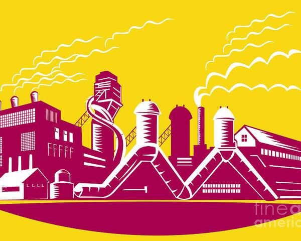 Factory Poster featuring the digital art Factory Building Power Plant Retro by Aloysius Patrimonio