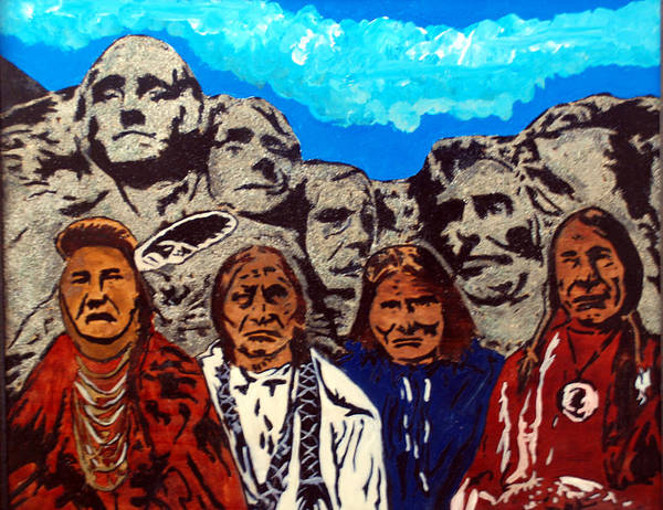 Native Americans Poster featuring the pyrography Famous Fathers by Mike Holder