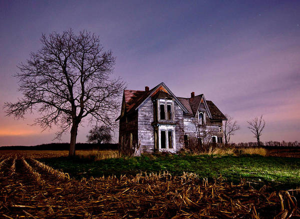 Abandoned Poster featuring the photograph Farm House At Night by Cale Best