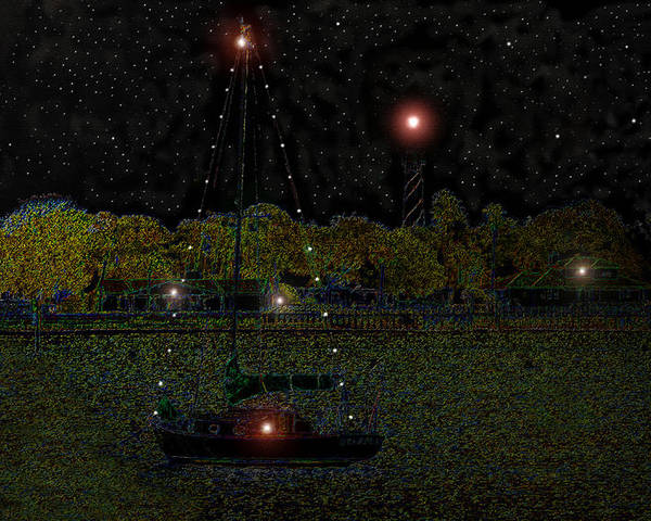 Art Poster featuring the painting Fat Moon Bay by David Lee Thompson