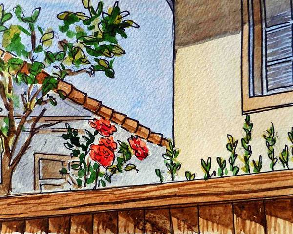 Rose Poster featuring the painting Fence And Roses Sketchbook Project Down My Street by Irina Sztukowski