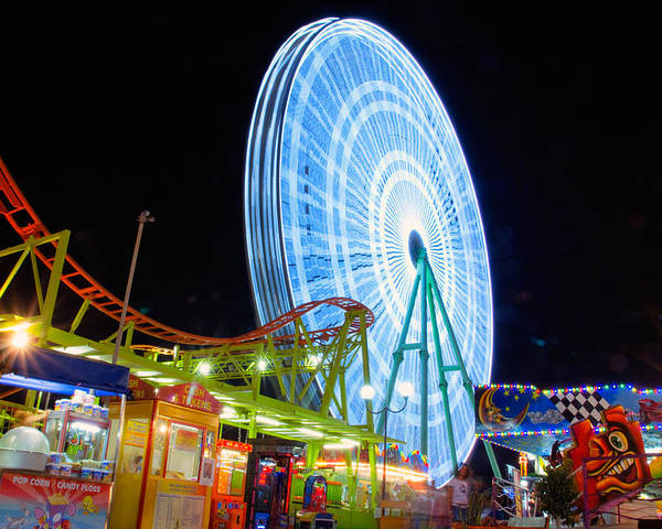 Amusement Poster featuring the photograph Ferris Wheel At Night by Stelios Kleanthous