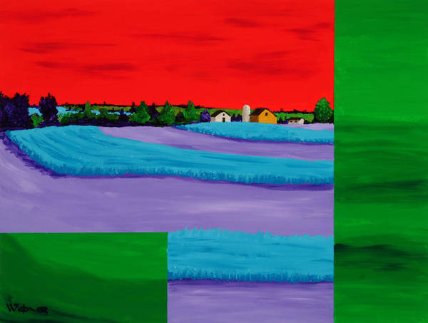 Landscape Poster featuring the painting Fields Of Green by Randall Weidner