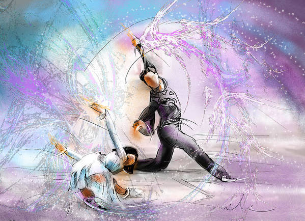 Sports Poster featuring the painting Figure Skating 02 by Miki De Goodaboom