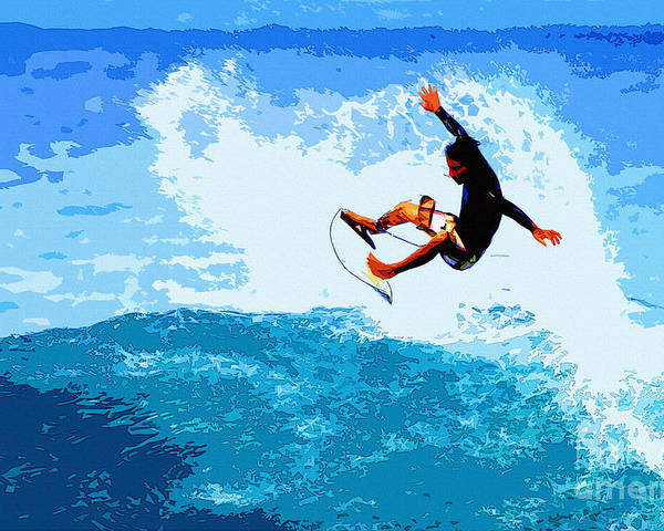 Surf Poster featuring the painting Fins Free by Paul Topp