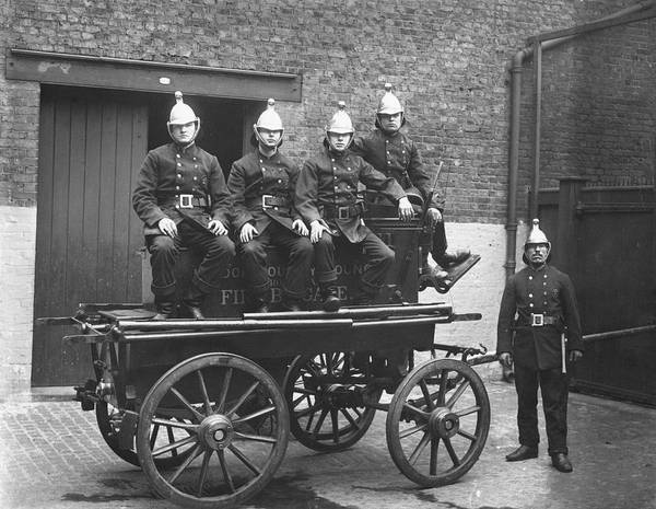 Adult Poster featuring the photograph Fire Cart by Topical Press Agency