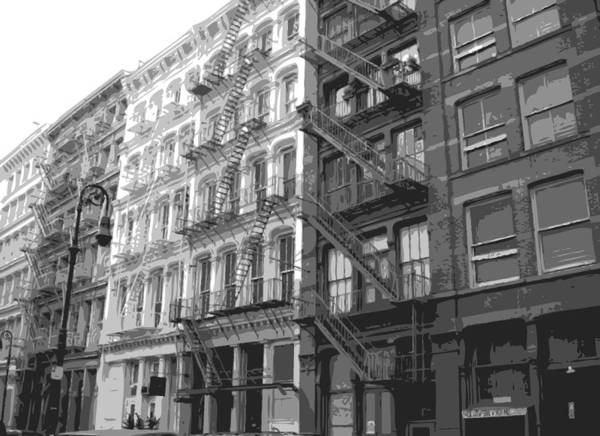 New York City Fire Escapes Poster featuring the photograph Fire Escapes Bw6 by Scott Kelley