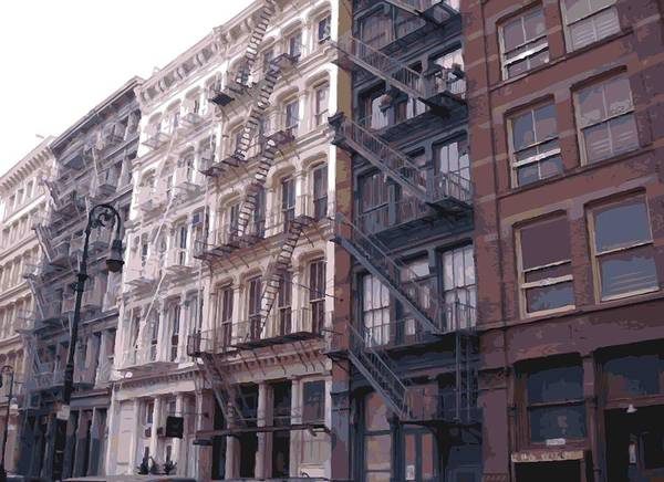 New York City Fire Escapes Poster featuring the photograph Fire Escapes Color 16 by Scott Kelley