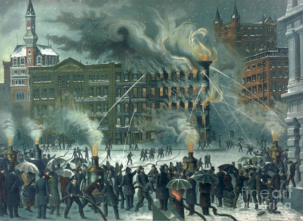Fire In The New York World Building Poster featuring the painting Fire In The New York World Building by American School
