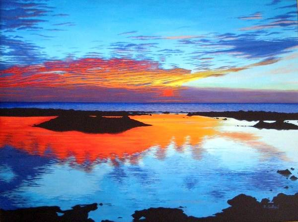 Seascape Poster featuring the painting Fire In The Sky by Rick Gallant