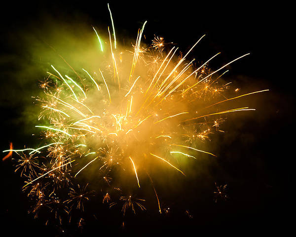 Horizontal Poster featuring the photograph Firework Display At New Year's Eve by Olaf Broders
