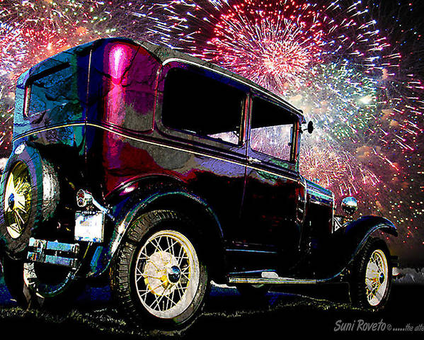 Car Poster featuring the painting Fireworks In The Ford by Suni Roveto