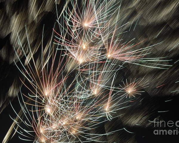 Chaos Poster featuring the photograph Fireworks On Bastille Day by Sami Sarkis