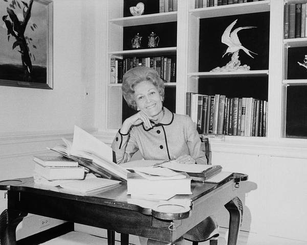 History Poster featuring the photograph First Lady Pat Nixon Working At A Small by Everett