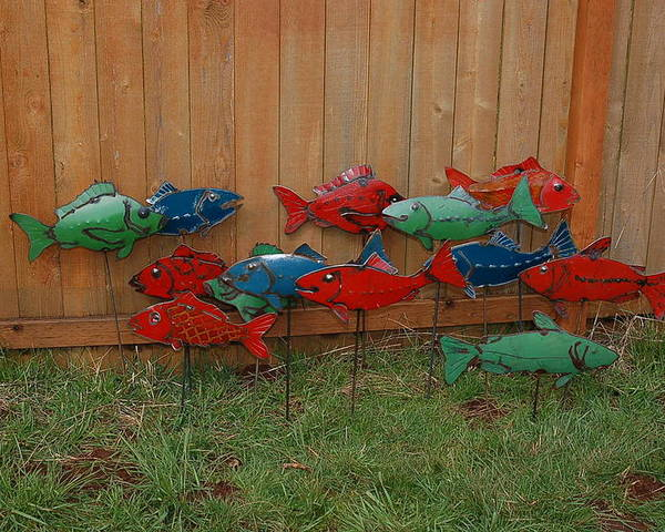 Recycled Fish School Salmon Trout Red Blue Green Water Pond River Stream Lake Canoe Boat Raft Flow Creek Jump Dive Swim Car Classic Rod Pinto Paint Metal Sculpture Art Welding Yard Art Garden Sunny Happy Smile Poster featuring the sculpture Fish From Cars by Ben Dye