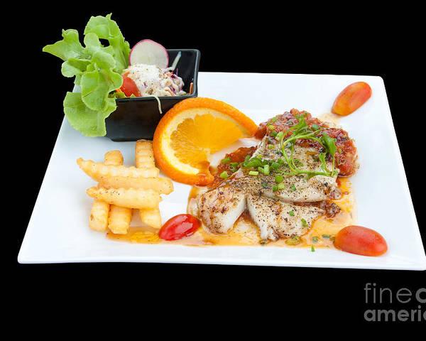 Appetizing Poster featuring the photograph Fish Steak by Atiketta Sangasaeng